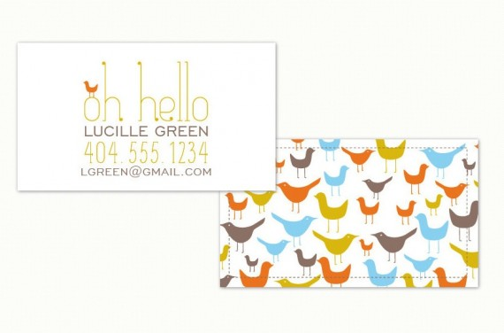 whimsical minted business card
