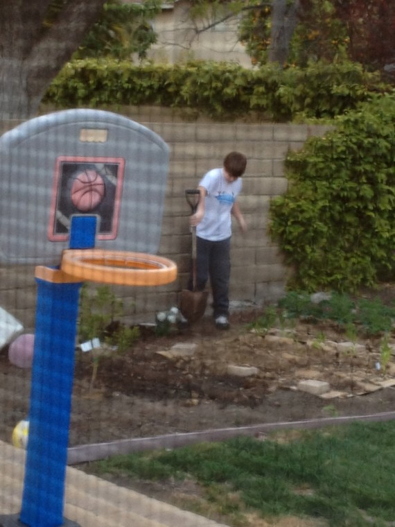 kid digging hole in garden