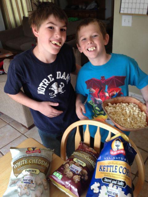 kids with gaslamp popcorn