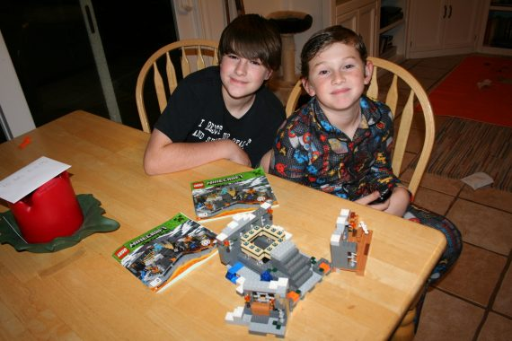 Boys with LEGO set
