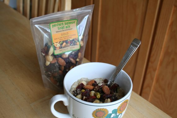Trail mix with bowl of oatmeal