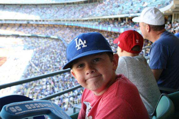 Dodger Stadium boy on club level