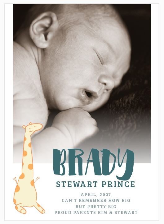 unique birth announcements baby brady