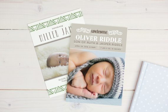 birth announcement boy in hat