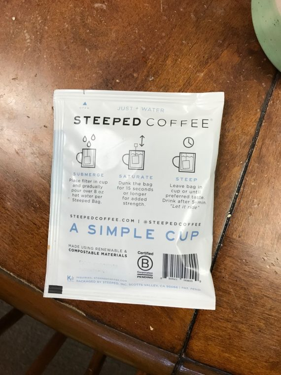 coffee package with brewing instructions