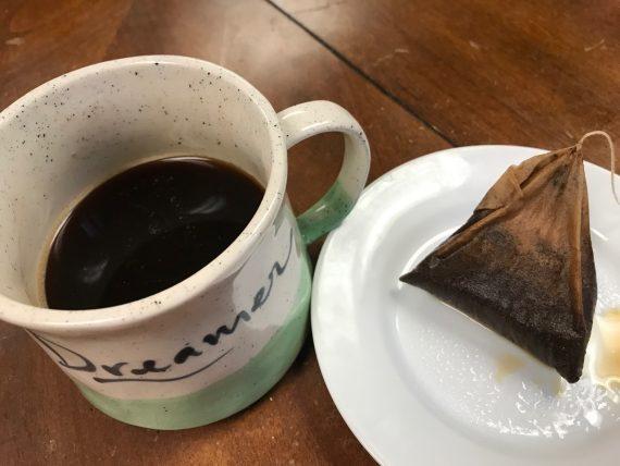 coffee mug with brewed bag